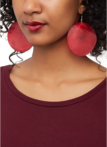 Shell Disc Earrings,RED,large