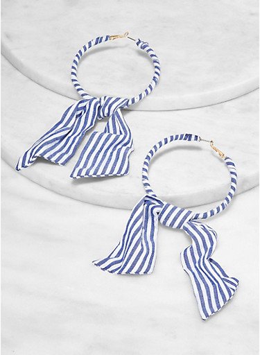 Striped Fabric Bow Hoop Earrings,NAVY,large