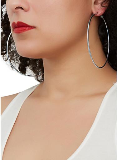 Tri Color Trio of Hoop and Stud Earrings,MULTI COLOR,large
