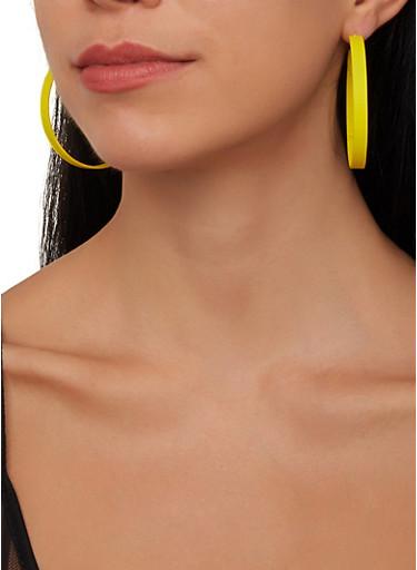 Set of 4 Colored Hoop Earrings,MULTI COLOR,large