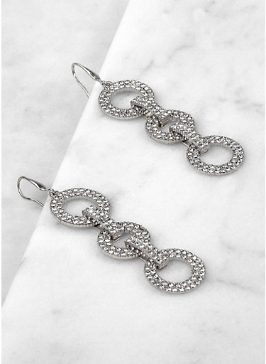 Interlocking Rhinestone Circle Drop Earrings,SILVER,large