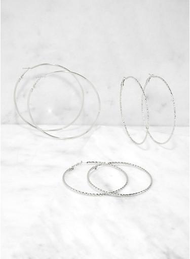 Metallic Skinny Hoop Earring Trio | 1135062929524,SILVER,large