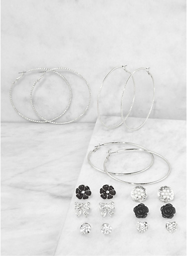 Assorted Rhinestone Bow Stud and Hoop Earrings Set,SILVER,large