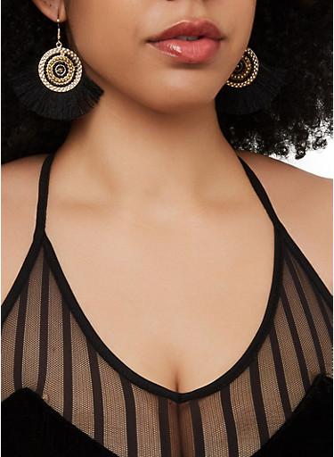 Beaded Disc Fringe Earrings,BLACK,large