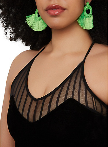Circle Fringe Earrings,LIME,large