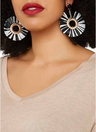 Fringe Metallic Disc Earrings,BLACK/WHITE,large
