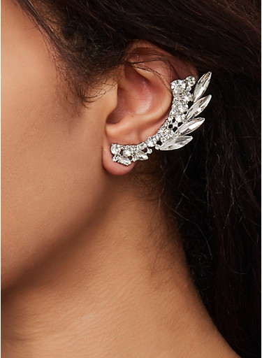 Rhinestone Leaf Ear Crawlers,SILVER,large