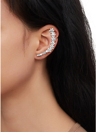 Flower Rhinestone Ear Cuff,SILVER,large