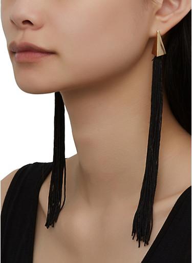 Long Metallic Tassel Earrings,BLACK,large