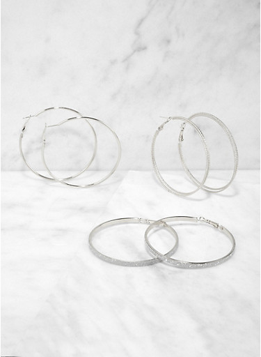 Glitter Metallic Hoop Earring Trio | 1135071430021,SILVER,large