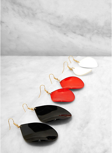 Trio of Colored Plastic Drop Earrings,WHITE,large