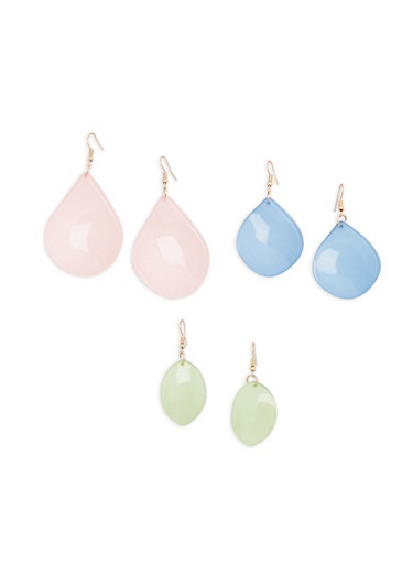 Plastic Drop Earrings,MINT,large