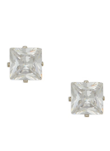 Large Square Cubic Zirconia Stud Earrings,SILVER,large