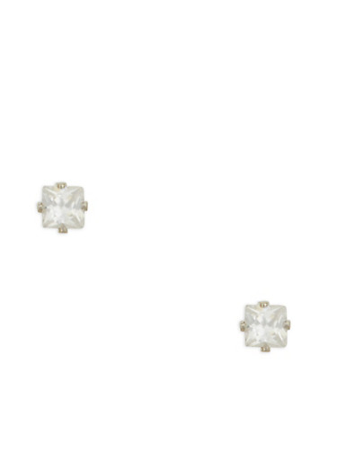 Mini Square Cubic Zirconia Stud Earrings,SILVER,large
