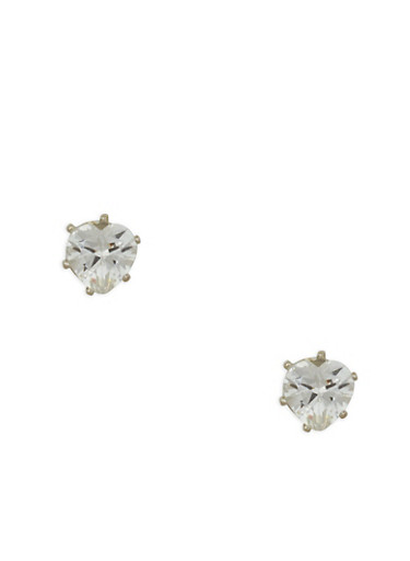Small Heart Cubic Zirconia Stud Earrings,SILVER,large