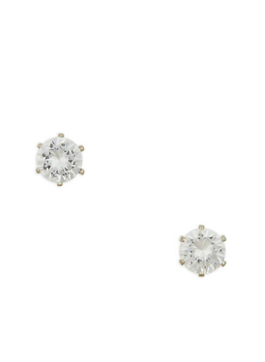 Small Round Cubic Zirconia Stud Earrings,SILVER,large