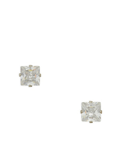 Small Square Cubic Zirconia Stud Earrings | Tuggl