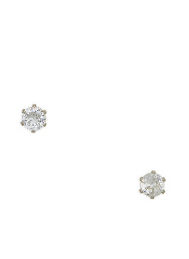 Mini Round Cubic Zirconia Stud Earrings,SILVER,large