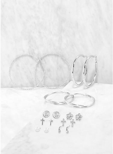 Assorted Rhinestone Flower Stud and Hoop Earrings,SILVER,large