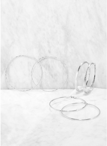 80 90 200 MM Hoop Earring Trio,SILVER,large