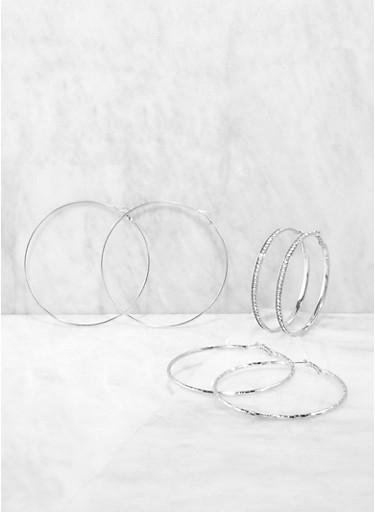 Descending Size Trio of Metallic Hoop Earrings,SILVER,large