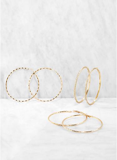 Trio of 80mm Hoop Earrings,GOLD,large