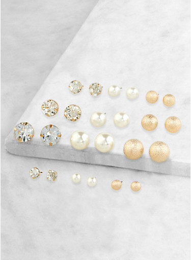 Set of 12 Faux Pearl Assorted Stud Earrings,GOLD,large