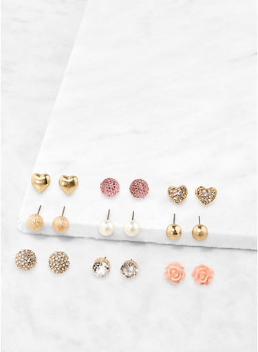 Set of 9 Rose Bud and Faux Pearl Stud Earrings,GOLD,large
