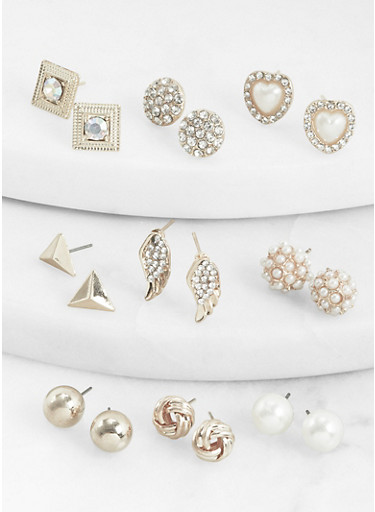 Set of 9 Assorted Faux Pearl Stud Earrings,SILVER,large