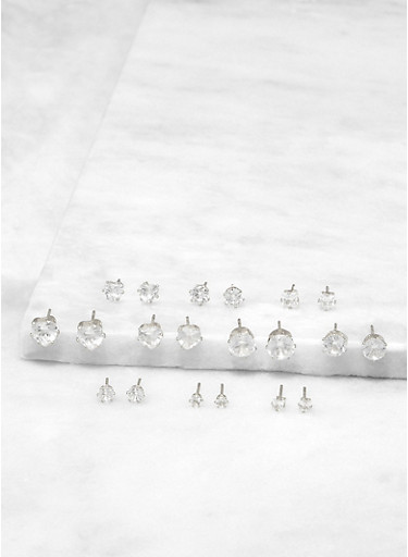 Set of Assorted Cubic Zirconia Stud Earrings,SILVER,large
