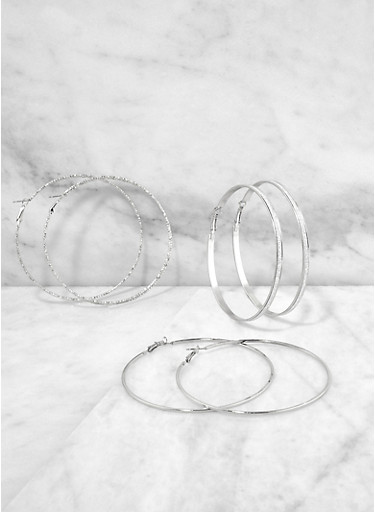 Large Shimmer Hoop Earring Trio,SILVER,large