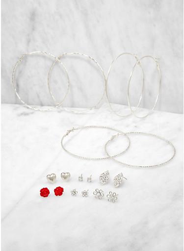Assorted Rhinestone Leaf Stud and Hoop Earrings,SILVER,large