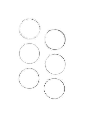 Set of 3 Extra Large Hoop Earrings,SILVER,large