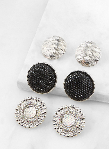 Textured Button Earring Trio,SILVER,large