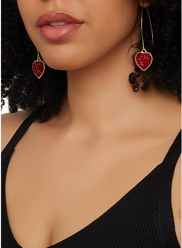 Drop Heart Threader Earring Trio,RED,large