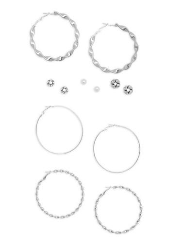 Set of 6 Rhinestone and Faux Pearl Stud and Hoop Earrings,SILVER,large