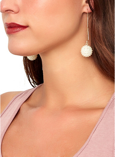 Faux Pearl Stud and Threader Earrings Set,IVORY,large