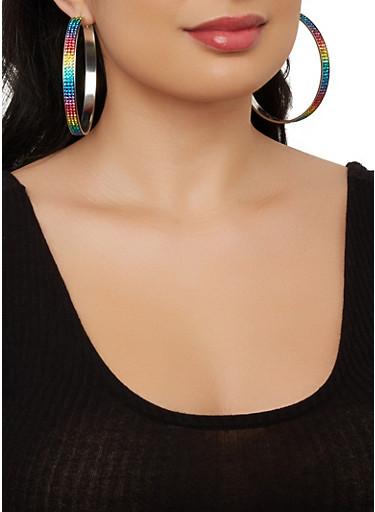 Set of 6 Assorted Stud and Hoop Earrings,SILVER,large