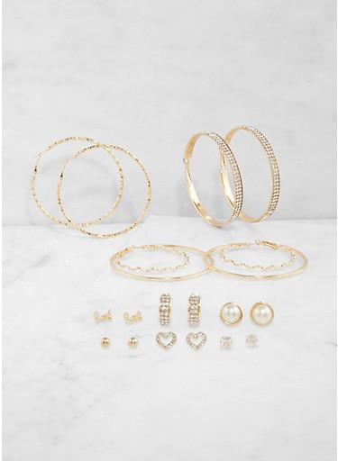 Set of Assorted Metallic Stud and Hoop Earrings,GOLD,large