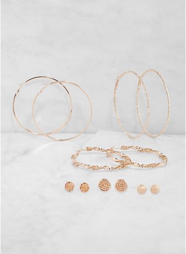 Set of 6 Metallic Stud and Hoop Earrings,ROSE,large