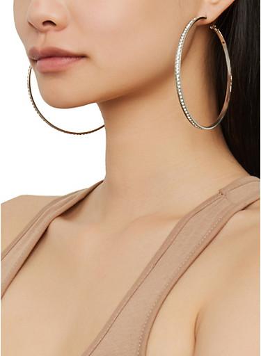 Set of 9 Assorted Rhinestone Hoop Earrings,SILVER,large
