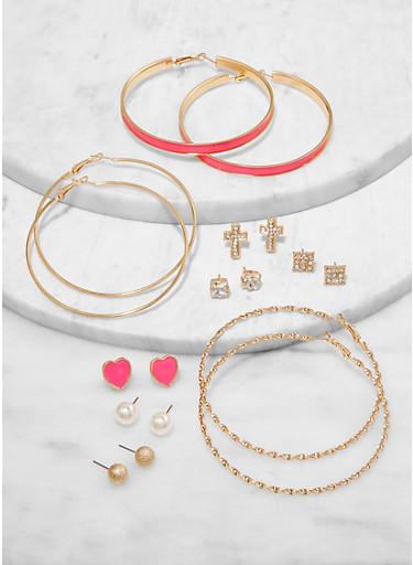 9 Assorted Neon Stud and Hoop Earrings,NEON PINK,large
