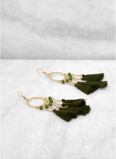 Chain Tassel Drop Earrings,OLIVE,large