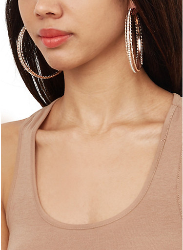 Set of 6 Stud and Hoop Earrings,TRITONE (SLVR/GLD/HEMAT),large