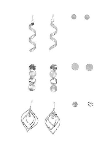Glitter Assorted Earrings Set,SILVER,large