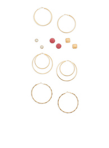 Set of 6 Stud and Large Hoop Earrings,GOLD,large