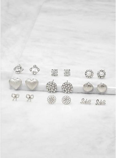 Set of 9 Stud Earrings,SILVER,large