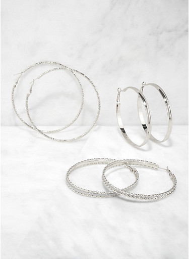 Set of 3 Glitter Metallic Hoop Earrings,SILVER,large