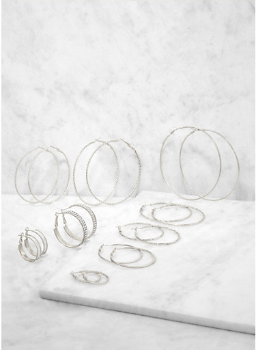Set of 9 Assorted Size Hoop Earrings,SILVER,large