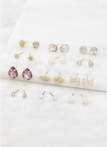 Set of 12 Assorted Stud Earrings,IVORY,large